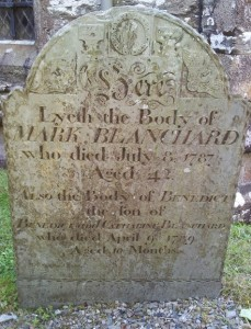 Photo of a gravestone in a churchyard