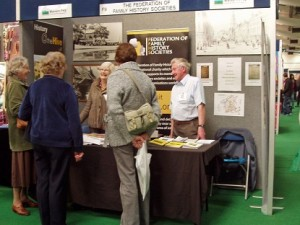 Members manning the Malvern Family History Stand at the Three Counties Showground