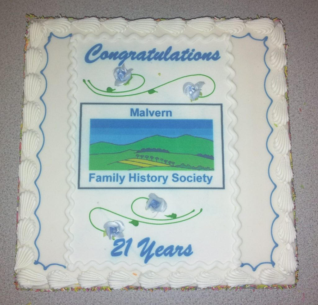 21st birthday cake for Malvern Family History Society 2016