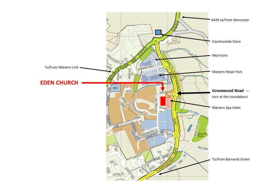 Directions to MFHS at Eden Church, Malvern